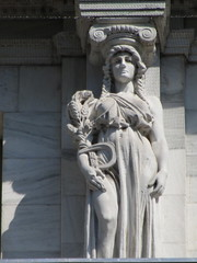 Mysterious Woman Dame Autumn Caryatid NYC 5418 (Brechtbug) Tags: mysterious woman dame autumn caryatid stone ladies courthouse roof statues across from madison square park new york city atlantid 2018 nyc 07152018 art architecture gargoyle gargoyles statue sculpture sculptures facade figures column columns court house law government building lady women figure form far east buildings season seasons fall