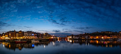 Whitby Harbour (ianrwmccracken) Tags: reflection nikon lowlight d750 england bluehour dusk nikkor2470mmf28 whitby yorkshire sky boat panorama coast harbour sea