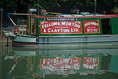 Pegasus No. 245 (stephengg) Tags: hertfordshire herts hertford ware river lea navigation canal nb pegasus no 245 narrowboat fellows morton clayton ltd reflection water red green white yellow tiller stern