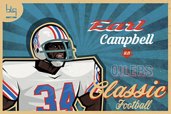 Earl Campbell nfl player (blgarts) Tags: vector graphic design art card illustration logo drawing retro vintage classic houston oilers earl campbell player nfl football runinback helmet
