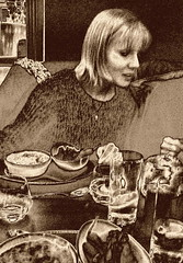 Dining out (Snapshooter46) Tags: diningout restaurant woman meal conversing monochrome photosketch