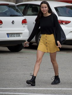 Girl is happy for being pictured, Barcelona.