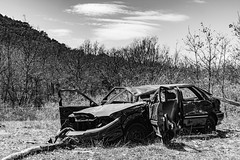destroyed (Rudy Pilarski) Tags: nikon nb nature bw voyage voiture car d7100 tamron 2470 monochrome detruit destroyed abandonné casser nuage cloud travel tree trip bois wood montagne france francia europe europa sky landscape herbe