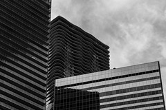 Curvilinear ({Brinkervelt}) Tags: chicago building architecture bw blackandwhite blackwhite cmwdblackandwhite monochrome clouds sky reflection curves lines glass