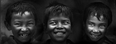 3 of them .. (tchakladerphotography) Tags: friendship happy boys outdoors enjoying friends children lookingatcamera smiling childhood bonding togetherness fun frontview kids portrait horizontal closeup blackwhite bw fineart