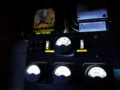 It's a Shocking Way to Go (Steve Taylor (Photography)) Tags: voltmeter volts ampmeter amperes drill electricshock onswitch electricity wires meter fuse man digitalart black blue yellow white newzealand nz southisland canterbury christchurch