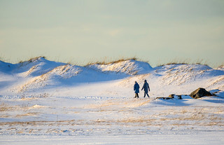 People walking in the snow, Iceland