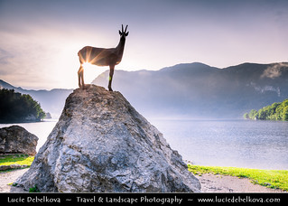 Slovenia - Julian Alps - Triglavski NP & Bohinj Lake with Golden Horn - Goldhorn (Zlatorog) statue during Sunset