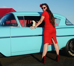 Holly_9239 (Fast an' Bulbous) Tags: pinup model girl woman car vehicle automobile people outdoor sky red wiggle dress high heels stockings nylons nikon