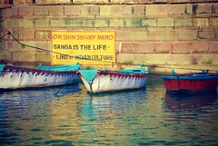Ganga Is The Life (pam's pics-) Tags: india travels worldtravel pamspics pammorris asia boats reflections water ghat stairs gangaislife filmscan