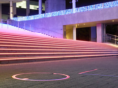 Tokyo lights (xBadFox) Tags: tokyo lights night odaiba stairs colors lumix gx8 neons pink panasonic leica travel escaliers rainbow voyage center commercial store