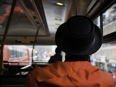 ** (donvucl) Tags: london londonbus bus passenger red lackhat interior interiorexterior composition olympusem1 donvucl