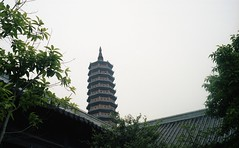 rooftops and pagoda (elffyb) Tags: elffyb voigtlander bessa bessar3a nokton nokton40 nokton40mm kodak kodakportra400 portra400 film analog streetphotography sailorstrap vietnam hoalu baidinh ninhbinh