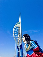 Sniff !! (rustyruth1959) Tags: mast tower sky quay waterfront armour wig man head marlborough bust ship hmsmarlborough spinnakertower spinnaker figurehead iphone5 harbour gunwharfquays portsmouth hampshire england uk europe