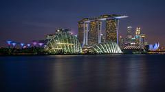 Singapore Cityscape [Explore] (BP Chua) Tags: city cityscape landscape singapore asia bluehour water river buildings colours light marinabay marinabaysingapore marinabaysands dusk night nikon d800e