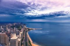 calm before the storm - Blue Hour (jnhPhoto) Tags: jnhphoto lakemichigan lakeshoredrive cityscape city citylife d850 clouds cloudscape bluehour