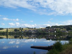 Welcome to Lairg, Sutherland, July 2018 (allanmaciver) Tags: lairg loch shin little reflections houses early morning calm quiet clouds beautiful day scotland allanmaciver