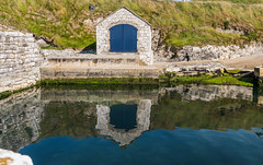 Ballintoy Blue (swordscookie back and trying to catch up!) Tags: ballintoy harbour boathouse bluedoor reflection pilgrimage evelyn
