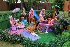 Cloudy afternoon at the pool (Annette29aag) Tags: barbie doll photography toy pool poolparty fashionista outdoor diorama
