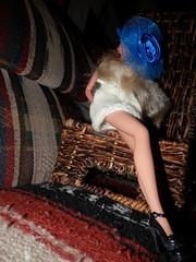 She got legs (marieschubert1) Tags: barbie doll fashion model kegs pose focus blue hat yellow dress long high heels