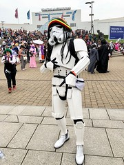 "ComicCon 2 (fjlong26348) Tags: mcm comiccon convention may 2018 london england gb uk capital city excel centre cosplay characters costumes comic con docklands newham gathering fans anime manga ""dressing up"" ""fancy dress"" fantasy mystery horror fanzine popular culture crowds fun sharing ""iphone 8 plus"" star wars stormtrooper imperial rasta hip rastafarian"