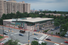 Mini Ballston (Duluoz Me) Tags: tiltshift tilt shift tse canon 24mm f35 mini miniature model bokeh focus blur blurry color colores green red aerial above angle pov composition interesting cool city cars car bus ups truck harris teeter ballston arlington va virginia east road street traffic light shadow landscape unusual trees interesection building tree intersection