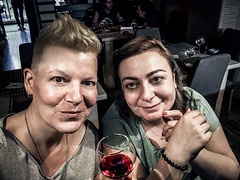 Selfies with Strangers 020: ხათუნა from Sake Sushi Bar (Melissa Maples) Tags: tiflis tbilisi თბილისი georgia gürcistan sakartvelo საქართველო asia 土耳其 apple iphone iphonex cameraphone spring me melissa maples selfportrait woman selfieswithstrangers sushibar sakesushibar restaurant shorthair blonde georgian redwine drink food glass wine night evening