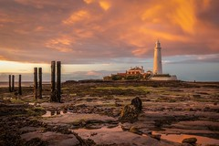 Sunset Mary (andrew drinkwater) Tags: st marys lighthouse sunset sky clouds colour orange sea tide reflections groyne northumberland tyneside uk england andrew drinkwater canon 1635 f4 5d iii