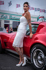 Julie and the Stingray (amateur72) Tags: caen fujifilm pinup tommysdiner american beauty miss model rockabilly xt1