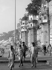 varanasi 2017 (gerben more) Tags: blackwhite benares varanasi monochrome people ghat building men india