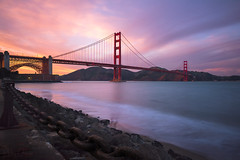 Goldengate Lightflow (Maddog Murph) Tags: golden gate bridge bay area san francisco sf california ca long exposure waves smooth pastel pink purple blue turquoise rocks chain suspension structure city landscape cityscape oceanscape ocean breeze marine layer sunset dusk