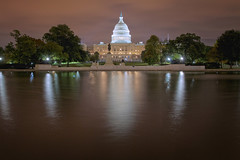 Rose Gold Capitol (SunnyDazzled) Tags: capitol building night lights pink sky rose gold reflection pool washington dc capitalmall tour travel visit dome statue trees water longexposure nightphotography
