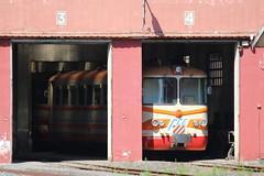 FCE: Triebwagen RALn 6406 in der Triebwagenhalle in Randazzo (Helgoland01) Tags: fce randazzo circumetnea italien sizilien sicilia eisenbahn railway schmalspurbahn narrowgaugerailway triebwagen lokschuppen