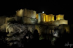 Acropolis Of Athens At Night (V.L.P.) Tags: pentaxk500 temple acropolis night ακρόποληαθηνών acropolisofathens monument moon fullmoon nighttime pingreece athens greece ακρόπολη rawtherapee museum ελλάδα pentax αθήνα supermoon grc
