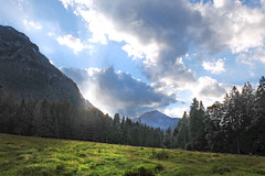 Light play - (rotraud_71) Tags: summer bavaria bayern berchtesgadenerland mountains sky sun clouds meadow trees scenics scenicsnotjustlandscapes