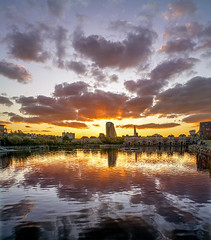 Shadwell Basin at Sunset (adrians_art) Tags: docklands shadwell isleofdogs uk london city water docks reflections sky clouds urban sunset evening architecture buildlings england