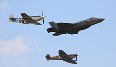F35, Spitfire & Mustang triple (kitmasterbloke) Tags: flyinglegends duxford airshow aviation history legacy heritage plane display cambridgeshire uk outdoor defence transport