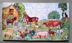 Farmyard puzzle (pefkosmad) Tags: hobby leisure pastime jigsaw puzzle wood plywood victory wooden vintage farmyard farm yard animals complete secondhand used twelvecutoutanimals gjhaytercoltd 7361 12cutoutmodels ak1 jwspearsonsltd