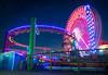 Santa Monica Pier (meeyak) Tags: santamonica la losangeles pier amusementpark ferriswheel rollercoaster lights night nightphotography dark moody neon colors reflection glow sunset bluehour mikemarshall nikon d800 1635mm landscape seascape outdoors vacation travel nature spring