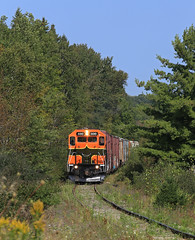 Working the Lines (GLC 392) Tags: els escanaba lake superior mi michigan pine tree derail sign telephone poles emd gp38 gp382 wells gn great northern life storage line lines 400 railroad railway train grass sky locomotive forest car road crossing weeds plants trees rail tracks