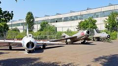 """Left to right: Mikoyan-Gurevich Mig.15's serial 744 & 735 and Mig.21F-13 serial 18 Romanian Air Force preserved at the """"Aviation Technical College"""" in Bucharest - Baneasa (Erwin's photo's) Tags: left right mikoyangurevich mig15s serial 744 735 mig21f13 18 romanian air force preserved aviation technical college bucharest baneasa"""