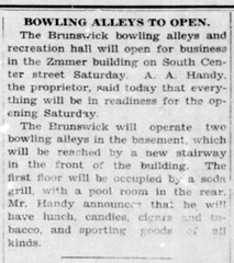 1928 - Brunswick bowling alley opens in Zimmer bldg on S Center - Enquirer - 19 Apr 1928
