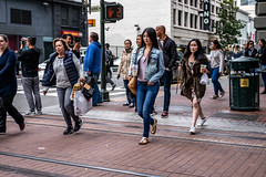 San Francisco 2018 (burnt dirt) Tags: sanfrancisco california vacation town city street road sidewalk crossing streetcar cablecar tree building store restaurant people person girl woman man couple group lovers friends family holdinghands candid documentary streetphotography turnaround portrait fujifilm xt1 color laugh smile young old asian latina white european europe korean chinese thai dress skirt denim shorts boots heels leather tights leggings yogapants shorthair longhair cellphone glasses sunglasses blonde brunette redhead tattoo pretty beautiful selfie fashion japanese coffee drink bag blue