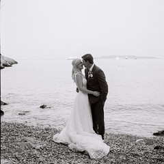 Greece-R1_09 (kiproof) Tags: athens greecemonochrome blackandwhite film ilford hp5 iskra 6x6 120film beach wedding bride groom vouliagmeni