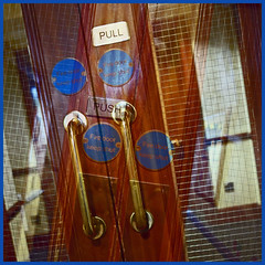 push & pull (Jocawe) Tags: lumixdmclx100 availablelight square swingingdoor push pull blue brown gold firedoor
