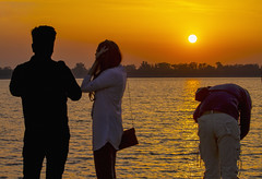 Sunset (Rambonp:loves all creatures of this universe.) Tags: chandigarh sunset dimness sundown twilight evening sun mountains yellow touristplace trees sky clouds nature crop orange red landscape wallpaper paradise silhouette india canon sukhnalake birds sortie dark water