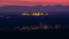 Karlsruhe, Raffinerie (GerhardQ) Tags: karlsruhe industry nightshot sunset citylights abendstimmung lumixg9 leica100400 mft