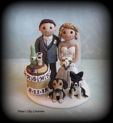 Wine Theme Wedding Cake Topper (Trina's Clay Creations) Tags: art sculpture weddingcaketopper wedding whimsical weddingcake weddingdecor caketopper customcaketopper clayfigure claycaketopper trinasclaycreations trinaprenzi topper groomscake polymerclay personalized wine winery dog