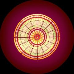 Stained glass skylight (andzwe) Tags: stationgroningen station groningen stainedglass glasinlood dakkoepel skylight edited filter sun purple paars orange yellow green neogotiek renaissance stijl jugenstil art artwork kunst kunstwerk artistiek