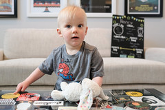 12 Months Old (_Codename_) Tags: henry month months chalkboard onemonthatatime 2018 poster samrobertsband thedecemberists stars bun spiderman avengers space stickers
